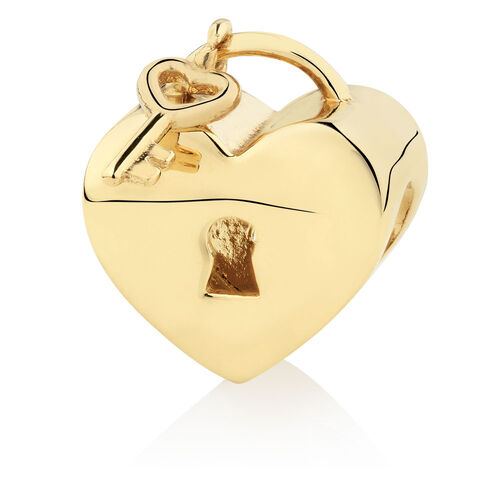 Heart Locket & Key Charm in 10ct Yellow Gold