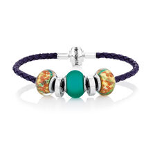 Online Exclusive - Sterling Silver & Green Glass Charm Bracelet