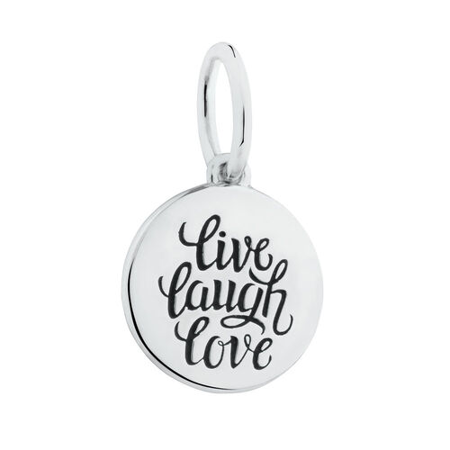 """Live, Laugh, Love"" Mini Pendant in Sterling Silver"