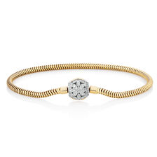 "17cm (7"") Charm Bracelet with 0.27 Carat TW of Diamonds in 10ct Yellow Gold"