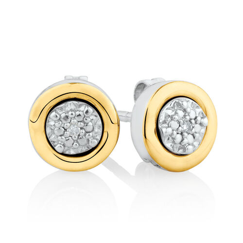 Diamond Set Stud Earrings Set in 10ct Yellow Gold & Sterling Silver