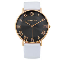 Rose Tone Stainless Steel Watch with White Leather