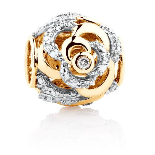 Diamond Set Rose Charm in 10ct Yellow Gold