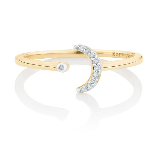 Diamond Set Open Moon Ring in 10ct Yellow Gold