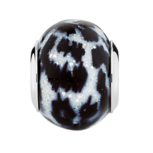 Black & White Animal Print Murano Glass Charm