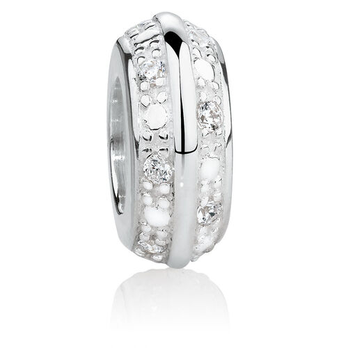 Slider Charm with Cubic Zirconia in Sterling Silver