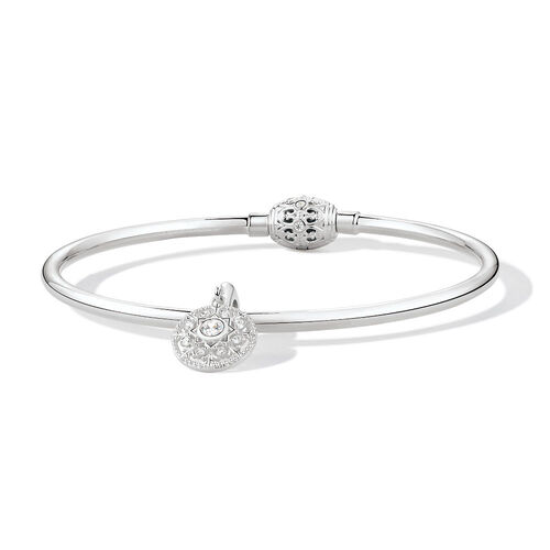 "19cm (7.5"") Bangle & Charm with Cubic Zirconia in Sterling Silver"