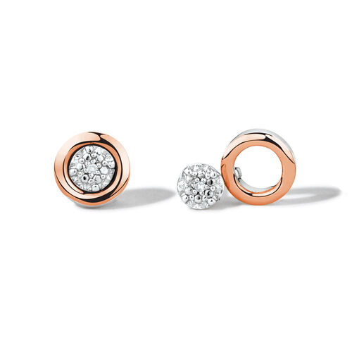 Diamond Set Stud Earrings Set in 10ct Rose Gold & Sterling Silver