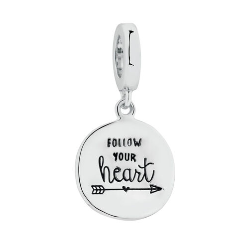 """""""Follow Your Heart"""" Charm in Sterling Silver"""