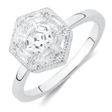 Art Deco Stacker Ring with Cubic Zirconia in Sterling Silver