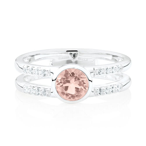 Stacker Ring with Cubic Zirconia & Blush Crystal in Sterling Silver