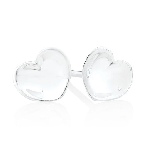 Heart Stud Earrings in Sterling Silver