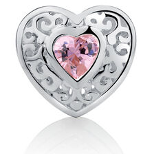 Filigree Heart Charm with Pink Cubic Zirconia in Sterling Silver
