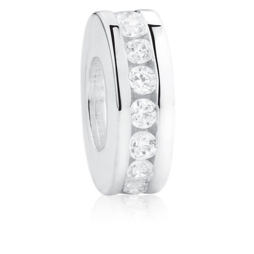 White Cubic Zirconia & Sterling Silver Spacer
