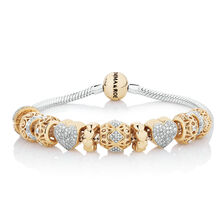 Starter Charm Bracelet with 0.57 Carat TW of Diamonds in 10ct Yellow Gold & Sterling Silver