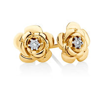 Diamond Set Flower Stud Earrings in 10ct Yellow Gold