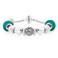 Sterling Silver & Green Glass Charm Bracelet
