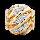 Diamond Set 10ct Yellow Gold Wave Charm