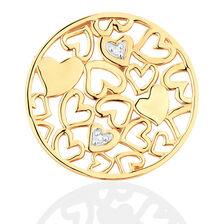 Diamond Set 10ct Yellow Gold Hearts Coin Locket Insert