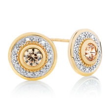 Diamond Set Stud Earrings with Champagne Cubic Zirconia in 10ct Yellow Gold