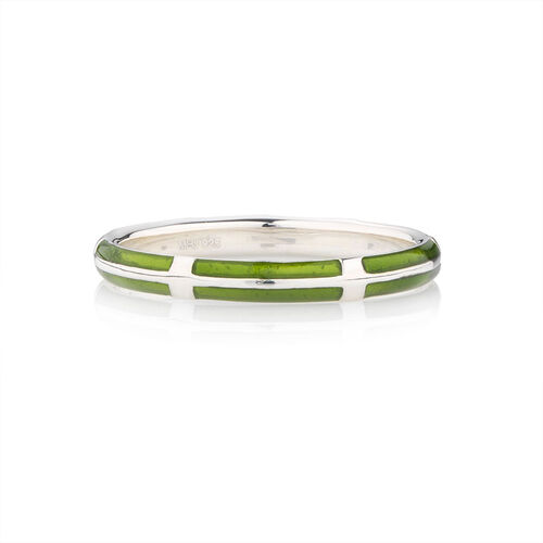 Online Exclusive - Stacker Ring with Green Enamel in Sterling Silver