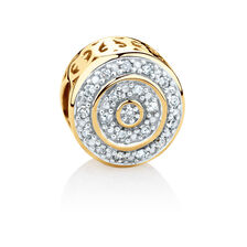 Round Charm with 1/4 Carat TW of Diamonds in 10ct Yellow Gold