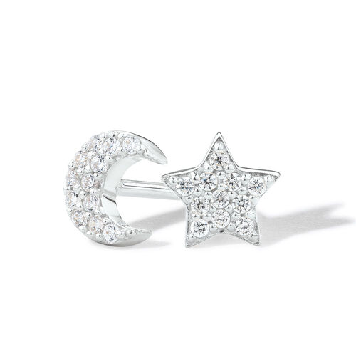 Star & Moon Stud Earrings with Cubic Zirconia in Sterling Silver