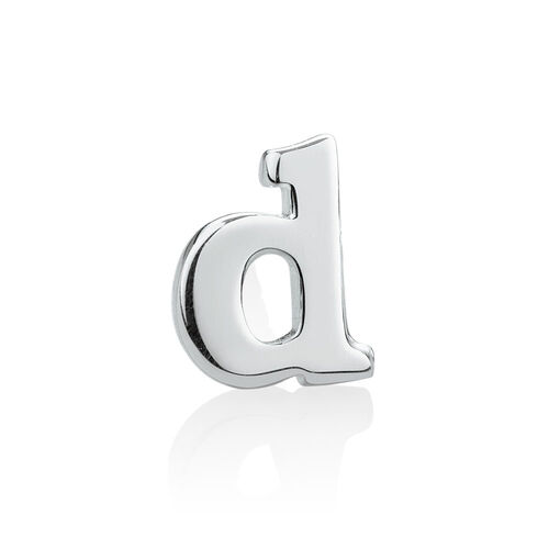 """D"" Stud Earring in Sterling Silver"