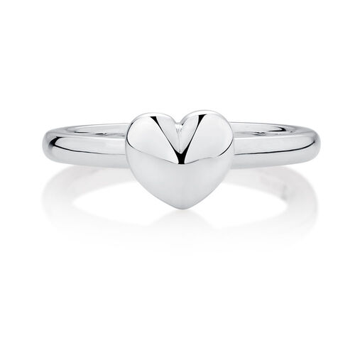 Online Exclusive - Sterling Silver Heart Stacker Ring