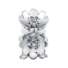 Diamond Set & Sterling Silver Flower Charm