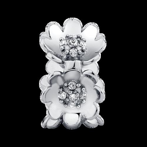 Diamond Set & Sterling Silver Flower Charm