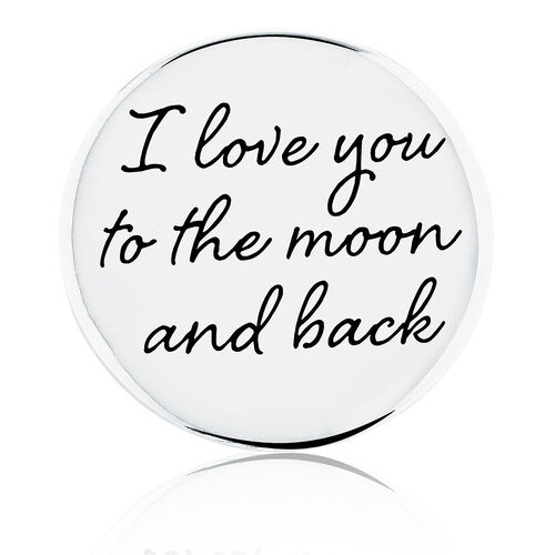 Moon & Back' Coin Locket Insert in Sterling Silver