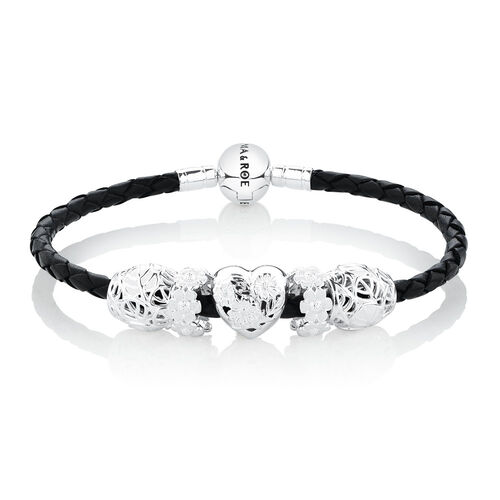 Starter Charm Bracelet with White Enamel in Sterling Silver