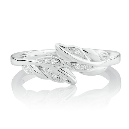 Double Leaf Stacker Ring with Cubic Zirconia in Sterling Silver