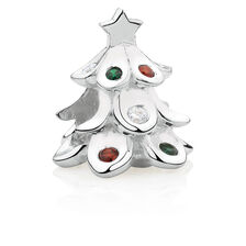 Christmas Tree Charm with Red, White & Green Cubic Zirconia in Sterling Silver