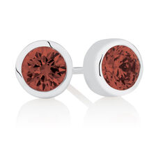 July Stud Earrings with Dark Red Cubic Zirconia in Sterling Silver