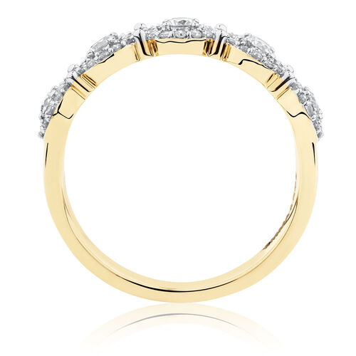 Halo Stacker Ring with 1/2 Carat TW of Diamonds in 10ct Yellow Gold