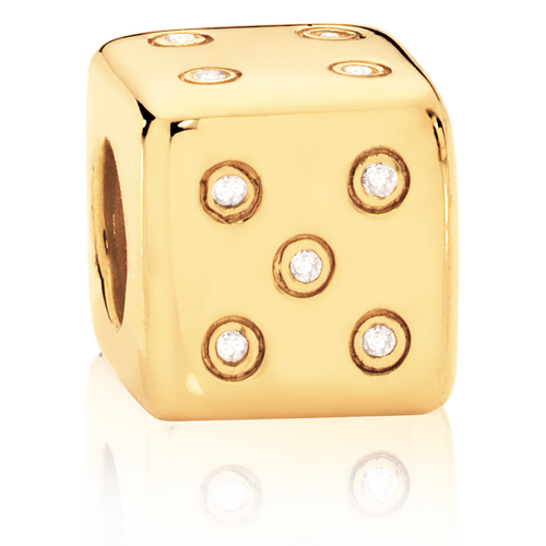 Diamond Set & 10ct Yellow Gold Dice Charm