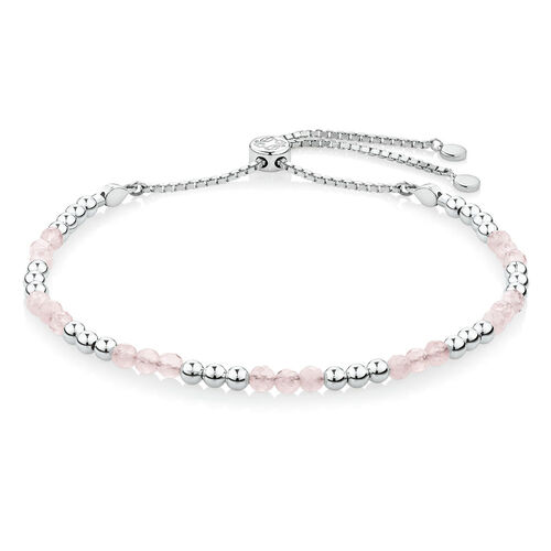 Adjustable Love Bracelet with Rose Quartz in Sterling Silver