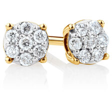 Cluster Stud Earrings with Diamonds in 10ct Yellow Gold