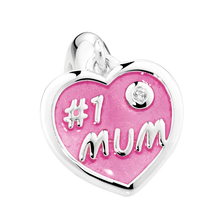 "Sterling Silver & Pink Enamel ""#1 Mum"" Heart Dangle Charm"