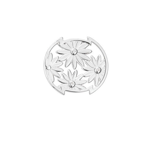 Flower Mini Coin Locket Insert with Cubic Zirconia in Sterling Silver