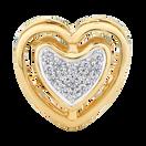 Diamond Set 10ct Yellow Gold Double Heart Charm