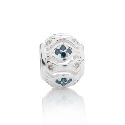 Online Exclusive - Charm set with White & Enhanced Blue Diamonds in Sterling Silver