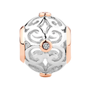 Diamond Set, Sterling Silver & 10ct Rose Gold Filigree Charm