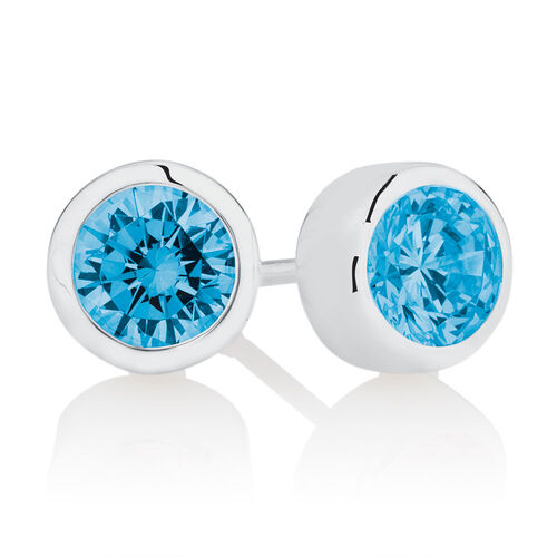 December Stud Earrings with Light Blue Crystal in Sterling Silver