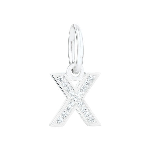 """X"" Mini Pendant with Cubic Zirconia in Sterling Silver"