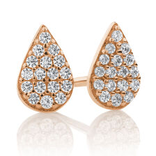 Pear Stud Earrings with Cubic Zirconia in 10ct Rose Gold