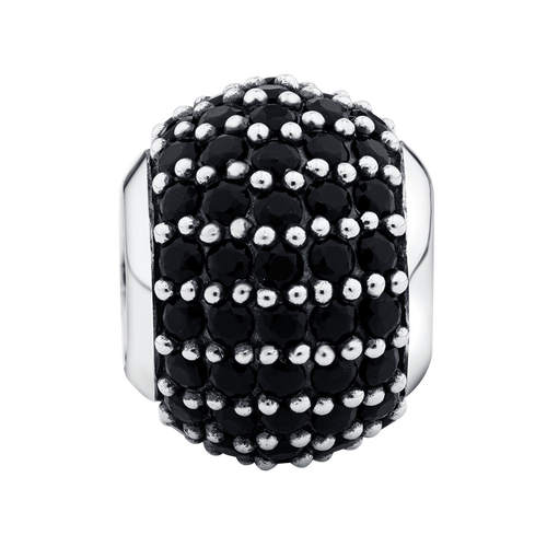 Black Cubic Zirconia & Sterling Silver Pave Charm