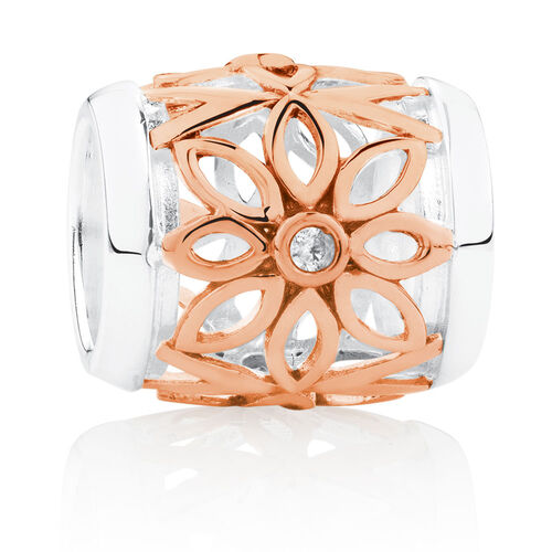 Wild Hearts Flower Barrel Charm with Cubic Zirconia in 10ct Rose Gold & Sterling Silver